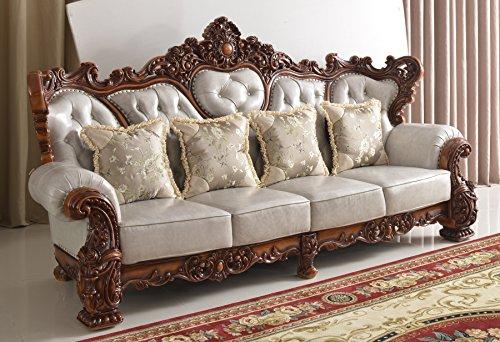 犀牛威豪 欧式沙发1 2 3 真皮实木双面雕花可定制 (图片色) (米白色)