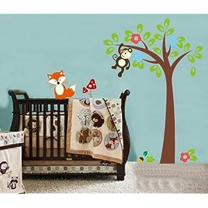 卡通幼儿园猴子树狐狸