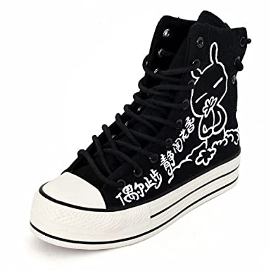 卜丁 新款潮鞋 黑色高帮女鞋个性手绘鞋帆布鞋厚底松糕鞋牛筋底