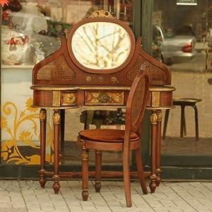 鱼西美屋杂货铺 欧式手绘雕花镜面梳妆台套装带椅子 宫廷唯美