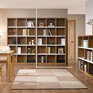 唯美馨书房大书架简约现代古董格子柜环保板柜子储物