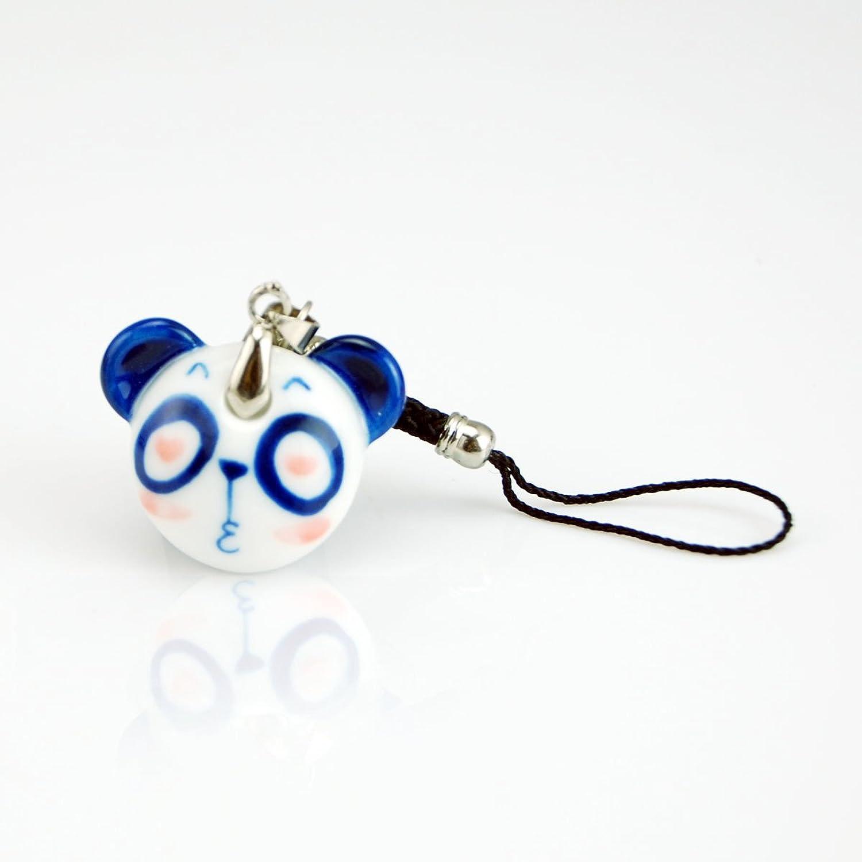 手上功夫 手绘青花瓷 可爱熊猫 手机链 包包链 时尚陶瓷首饰