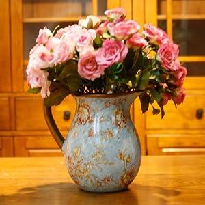 欧式复古陶瓷单把小花瓶 (花瓶带花)