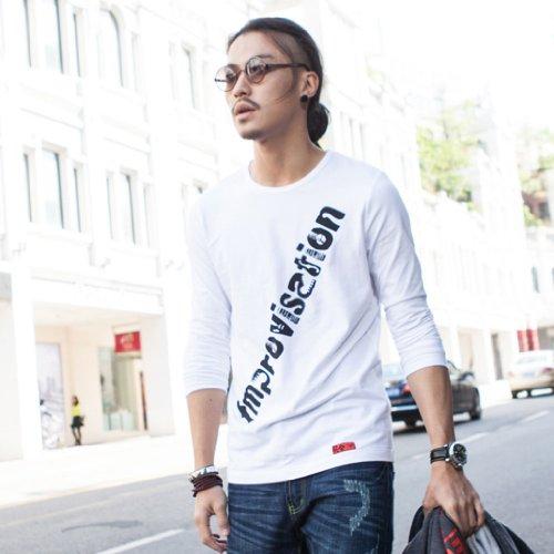 BALCONY 巴戈纽 长袖T恤男士圆领潮流T桖潮人T恤 男韩版修身时尚创意舒适