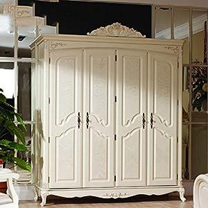 bmj邦美居欧式白色橡木衣柜开放漆带木纹实木仿古四门