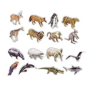 正版喜立方3D立体手工拼图益智玩具纸模型16种动物组合G268-20