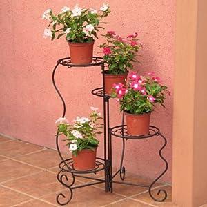 沃施 四层旋转铁质花架 折叠花架 旋转花架 园艺用品 欧式风格 3935
