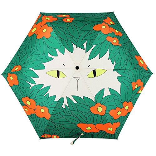 zhilu tq系列【设计师原创 创意花丛猫咪系列】出口高品质超轻三折伞