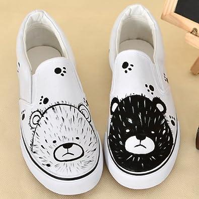 卜丁 低帮套脚帆布鞋子 平底女鞋 黑白小熊手绘图案潮
