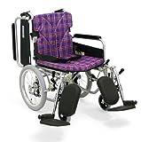 日本河村轮椅KA800-16护理系列 高端舒适 高度可调 踏脚可拆 靠背可折叠 (坐宽42   坐高43, 方格紫A11)-图片