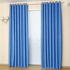 铭聚布艺 简约现代烫银三层梭织95%全遮光窗帘遮阳布 璀璨星空 天蓝色图片