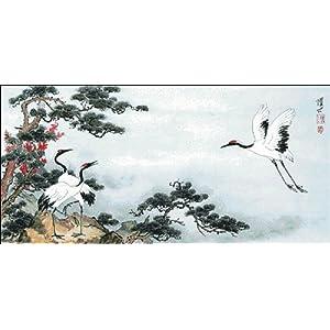 万众家园 十字绣 客厅动物画 松鹤图 松鹤延年 11ct 朵拉线 3股