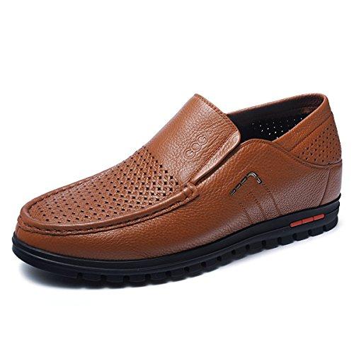 Gog 高哥 夏季男士增高凉皮鞋透气内增高休闲男鞋男式6厘米镂空鞋