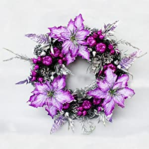 ti 柔蓝若婷 圣诞装饰品 圣诞花环 圣诞装饰花环 紫色松果花环 100cm