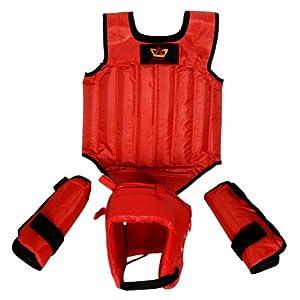 山人运动SRTQ-6200散打护具 专业训练比赛散打护具  5件套送包(红色)