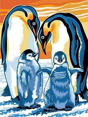佳彩天颜 diy手绘数字油画 卧室企鹅结婚情侣装饰画 乐也融融 乐也融