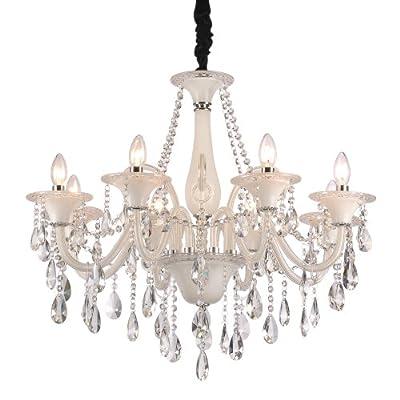 贝伦 欧式水晶吊 灯 时尚客厅灯 8头白色水晶灯 酒店灯具 别墅 家居