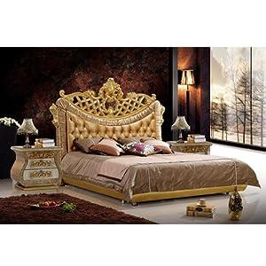 琴宇坊 豪华真皮床 欧式古典床 真皮床 太子双人床 1.8米床6051