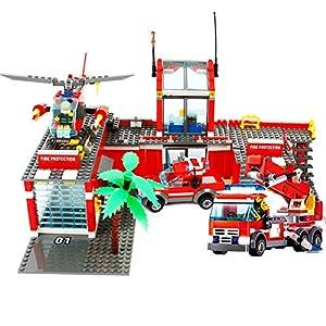 积木 拼插玩具 儿童玩具 兼容乐高(包含:直升机一架,消防云梯车一辆