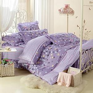 帝尚 韩版床罩式全棉四件套(1.5米款床罩) 欧式风 温婉花镜-紫