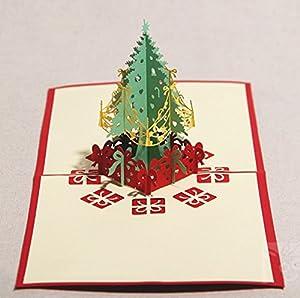 批发创意立体圣诞树(礼物)diy剪纸雕明信片贺卡