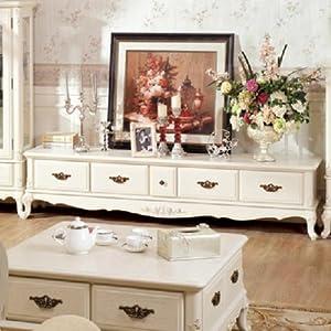 欧式田园风格实木电视柜客厅低平柜