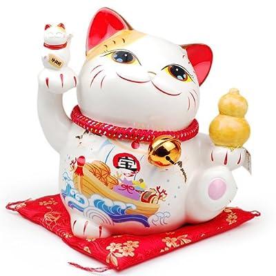 金石工坊 陶瓷招财猫 储蓄罐 特大号 福船招福中睁眼猫 53200图片