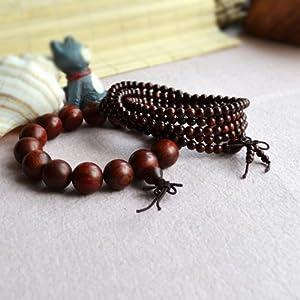 名古缘 天然15mm-4mm 印度小叶紫檀情侣念珠佛珠手串手链饰品 情侣