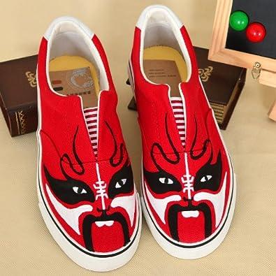卜丁 低帮套脚帆布鞋 中国风戏剧脸谱图案手绘鞋 个性