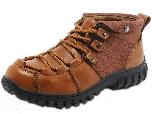 Camel 骆驼 贝克汉姆同款英伦超酷霸气时尚粗旷皮靴 潮流工装靴 真皮牛仔靴高帮鞋户外皮鞋 流行男靴(码偏大一码)