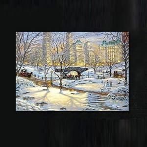 美时美刻 欧式壁画风景画城市雪景现代餐厅装饰画饭店