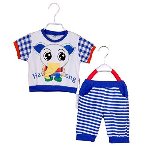 憨豆龙夏款大象运动套系列6210男款宝宝t恤套装蓝领白底 100cm