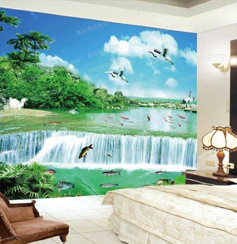 ceselavie 塞拉维 自然风景山水画 鱼群 仙鹤 瀑布墙纸|电视墙背景