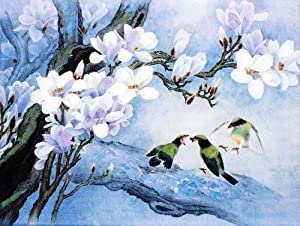 风无框油画 中国工笔重彩画系列之 慈乌反哺 J