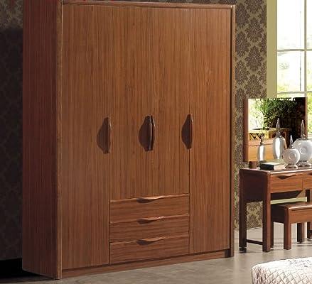 巢木良品 胡桃木衣柜 现代中式卧室配套五门大衣柜yo
