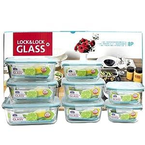 乐扣乐扣(LOCK&LOCK)LLG447S009格拉斯耐热玻璃保鲜盒 8件套 ¥179