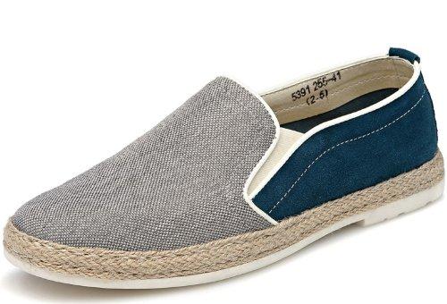 UPJERO 新款韩版透气帆布鞋 英伦男士鞋 潮流休闲鞋 商务休闲鞋 时尚低帮板鞋 平底布鞋 一脚蹬懒人鞋 男鞋