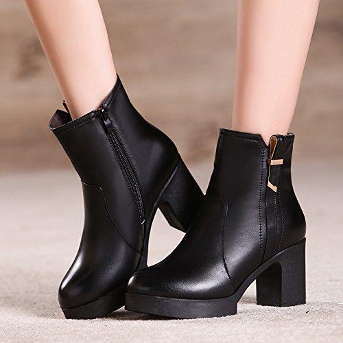醉花间冬季新款女靴绒毛女棉鞋高跟粗跟真皮棉鞋短靴保暖靴棉皮鞋15000