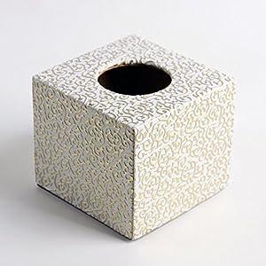 品地白底金花欧式风格皮革可爱创意正方形圆筒纸纸巾盒白底金花