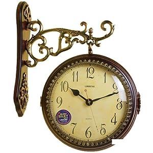 今日促销时钟中号深色客厅欧式双面