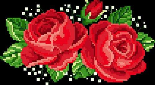 万众家园 十字绣 客厅画 花草 玫瑰之约 两朵玫瑰 14ct dmc线 2股