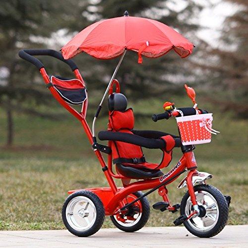儿童三轮车脚踏车 手推车 多功能婴幼儿车 (发泡轮 红色)
