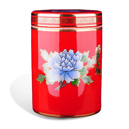 Snowwolf 雪狼 中国红茶叶罐 陶瓷 描金牡丹 会议礼品定制 礼盒包装 大唐源-图片
