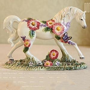 无界家居 欧式创意时尚工艺品摆设 现代装饰品陶瓷马摆件 家居饰品
