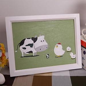 自油自画 数字油画diy儿童益智卡通手绘油画 奶牛与小鸡 带画框 15*20