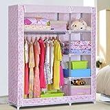 标家 布衣柜 简易衣柜 超大空间 加厚牛津布 加高加粗 超大承重 B5508D (粉色斑点)-图片
