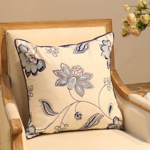 植物花纹图案靠枕 手工刺绣棉麻抱枕 办公室沙发创意靠垫 b款