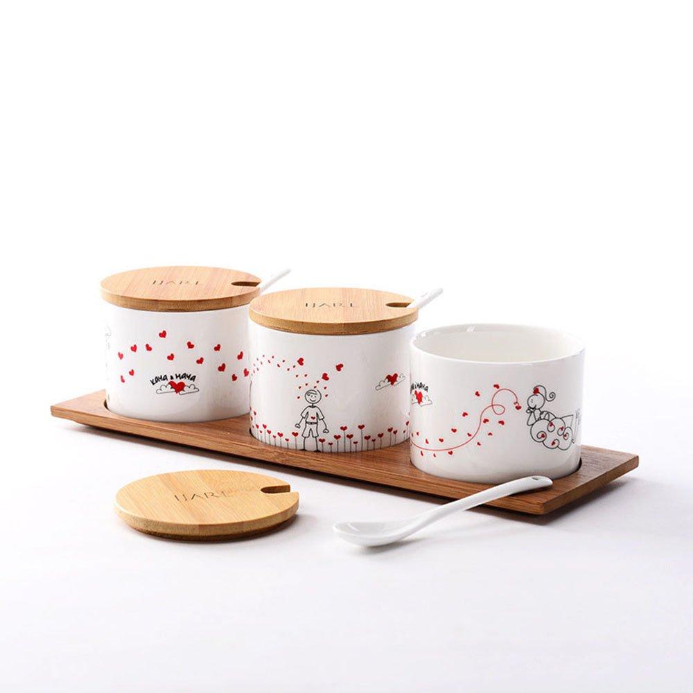 ijarl 亿嘉 时尚创意韩式陶瓷器 餐具套装调味瓶调料罐盒爱情简笔画
