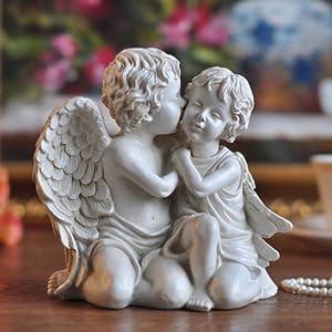 无界家品 欧式客厅婚庆家居饰品摆件 创意时尚可爱天使工艺品摆设结婚