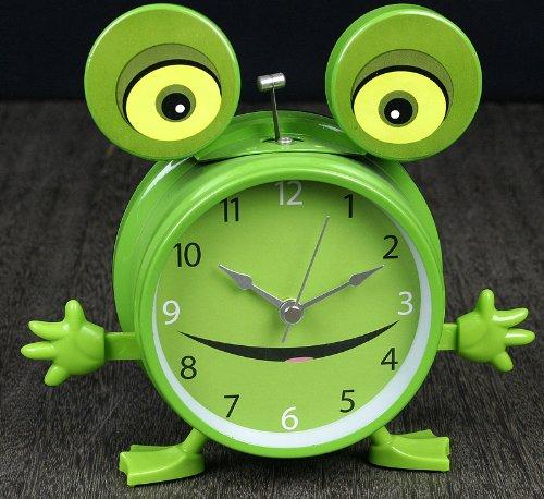 德高 可爱卡通动物台钟 真声动物青蛙叫声钟表 数字卡通手摇摆型时钟